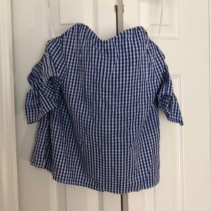 Off the shoulder plaid top. Only worn once !